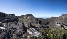 Summit of Mount Roraima, strange world made of volcanic black st Stock Photos