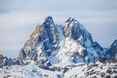 The summit of mount Ushba in the Caucasus range Royalty Free Stock Image