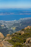 Summit of Mount Wellington overlooking Hobart and the derwent river Stock Photos