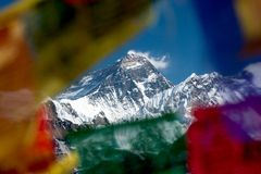 Summit of Mt. Everest from Gokyo Ri, Sulu Khumbu, Nepal. View of Mt. Everest trough prayer flags on summit of Gokyo Ri, Gokyo, Solu Khumbu, Nepal Royalty Free Stock Photography
