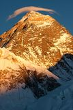 Summit of Mt. Everest at Sunset. Last rays of sunlight on summit of Mt. Everest, Khumjung, Solu Khumbu, Nepal Royalty Free Stock Image
