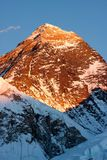 Summit of Mt. Everest at Sunset. Last rays of sunlight on summit of Mt. Everest, Khumjung, Solu Khumbu, Nepal Stock Image