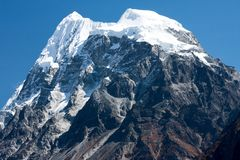 Summit of Mt. Langshisha Ri from Langtang Valley, Himalayas, Nepal Royalty Free Stock Photography