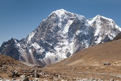 Summit mt. Lobuche, Sagarmatha National Park, Solu Khumbu, Nepal. Summit of mt. Lobuche from route to mt. Everest Base Camp near Gorak Shep, Sagarmatha National Royalty Free Stock Image