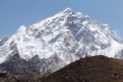 Summit mt. Nuptse, Sagarmatha National Park, Solu Khumbu, Nepal. Summit of mt. Nuptse from route to mt. Everest Base Camp near Gorak Shep, Sagarmatha National Royalty Free Stock Images