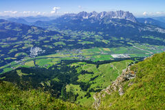 Summit panoramic view from Kitzbuhel peak,Tirol,Austria Stock Photography