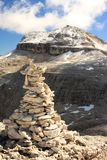 The summit of Piz Boa with a cairn Stock Photos