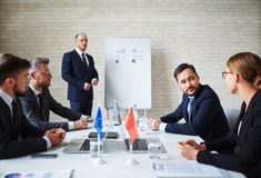 Summit of political leaders. Leaders of eu communicating at summit stock photography
