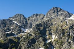 Summit pyramid of mountain peaks in Tatra mountains. Summit pyramid of mountain peaks in Tatra mountains on the border between Poland and Slovakia Royalty Free Stock Photo
