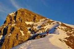 On the summit ridge of Mt.Rua, Friuli, at Sunset. Royalty Free Stock Photography