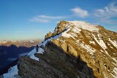 On the summit ridge of Mt.Rua, Friuli, at Sunset. Stock Image