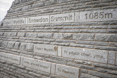 Summit sign Mt Snowdon. Peak of mount Snowdon in North Wales Stock Photos