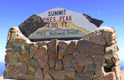Summit sign of Pikes Peak, Colorado Stock Photography