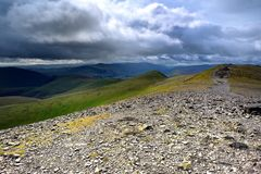 The summit of Skiddaw. Storm clouds approaching Skiddaw summit Royalty Free Stock Photo