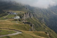 Summit station of the Mannlichen cable car, Wengen Royalty Free Stock Photo