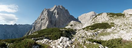 Summit of Stenar above Vrata valley in Triglav national park in Julian Alps in Slovenia. Summit of Stenar above Vrata valley in Triglav national park in Julian Royalty Free Stock Photo
