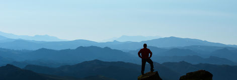 Summit success. Mountaineering activities.Peak and success concept Stock Images