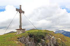 Summit with summit cross in the alps (rofan) Stock Photo