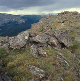 The summit of Sundance Mountain, Rocky Mountain National Park, Colorado. This 12,466-foot peak is only a 3.7-mile round trip but the & x22;trail& x22; is Royalty Free Stock Image