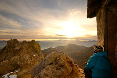 On the summit at sunrise Stock Photography