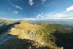 Summit in the Tatra Mountains at sunrise