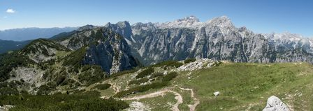 Summit of Triglav and Rjavina from hillside of Debela pec mountain in Triglav national park in Julian Alps in Slovenia. Summit of Triglav and Rjavina from Royalty Free Stock Photography