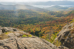 Summit View Of Autumn Scenery With Mist Stock Image
