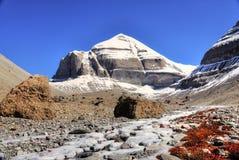 Summit. View for summit of Kailas mountain in Tibet Stock Photos