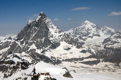 The summits of the Matterhorn and Dent Blanche Stock Images