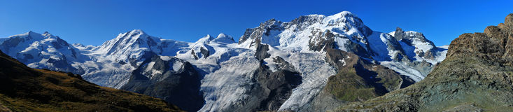 Summits of Monte Rosa (left), Liskamm, Castor Stock Image