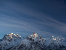 Summits in winter. The snow-covered summits of the Sesvenna mountain group,Engadine, Switzerland Stock Photos