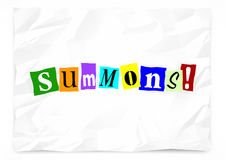 Summons Notice Appear Court Legal Ransom Note. 3d Illustration Royalty Free Stock Photos