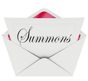 Summons to Appear in Court Letter Envelope Mail Legal Lawsuit Ca. Summons word on a note in an envelope requiring you to appear in court before a judge for a Royalty Free Stock Photography