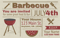 Summer barbecue invitation. Summer barbecue vector background invitation Royalty Free Stock Photos