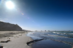 Sumner Beach which is popular with the locals, in Christchurch. New Zealand stock image
