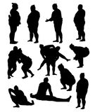 Sumo Activity and Action Silhouettes. Art vector design Stock Photography
