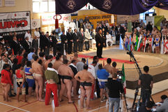 Sumo Championships. The World Sumo Championships Opening Ceremony in Warsaw Royalty Free Stock Photo
