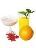 Sumo de laranja e cocktail leitoso fotos de stock royalty free