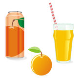 Sumo de laranja e fruta isolados ilustração royalty free