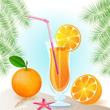 Sumo de laranja fresco com frutas Imagem de Stock
