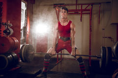 Sumo deadlifts in club. Stock Photography