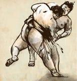 sumo Een hoogtepunt - met maat hand getrokken illustratie in cal Stock Foto's