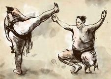 sumo Een hoogtepunt - met maat hand getrokken illustratie in cal Stock Fotografie