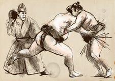 sumo Een hoogtepunt - met maat hand getrokken illustratie in cal Royalty-vrije Stock Foto's