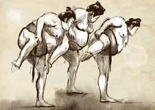 sumo Eine lebensgroße Hand gezeichnete Illustration in cal Stockfotografie