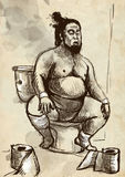 Sumo fighter on the toilet bowl Royalty Free Stock Image