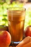 Sumo fresco da cenoura e da maçã Foto de Stock
