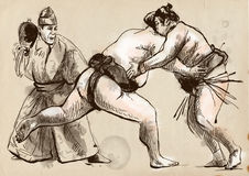 Sumo. An full sized hand drawn illustration in cal Royalty Free Stock Photos