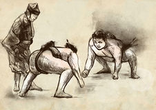 Sumo. An full sized hand drawn illustration in cal Stock Photography