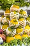 Sumo mandarin fruit. Reticulata dekopon on street market in Sao Paulo, Brazil Royalty Free Stock Photography